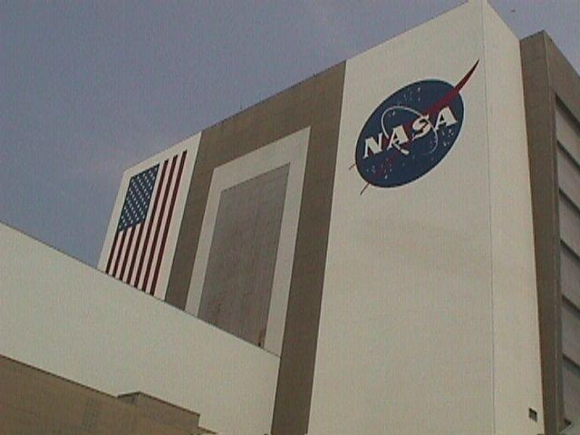 The NASA 'meatball' painted on the side of the huge VAB
